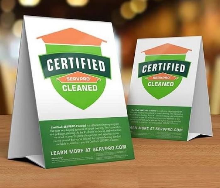 picture of our table top Certified: SERVPRO Cleaned logo