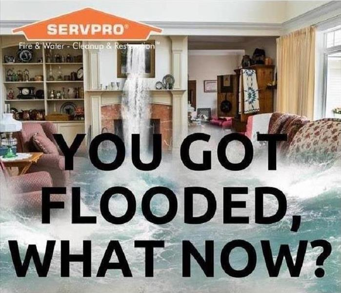 a living room in a home that has a large amount of water in it, furniture is floating