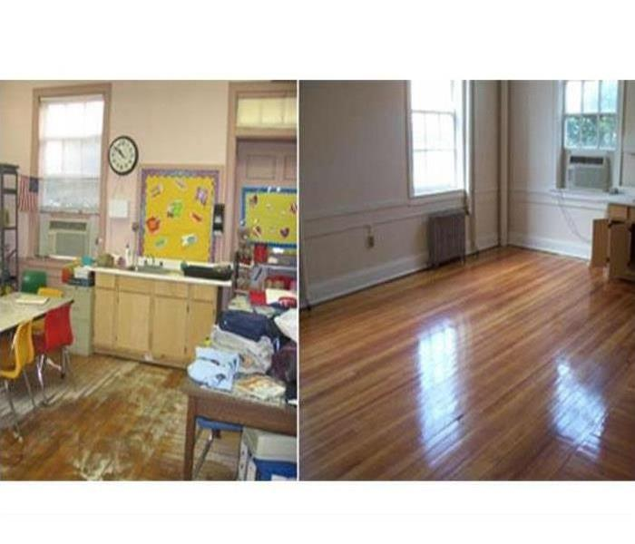 2 photos showing classroom and an empty room