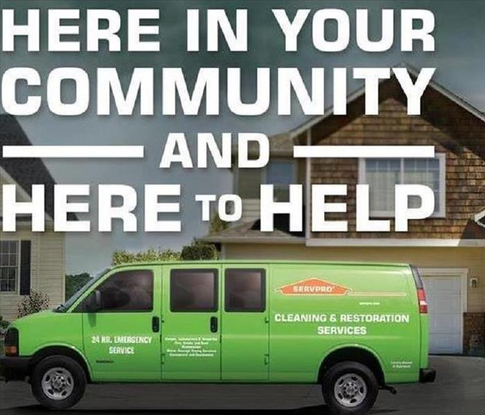 SERVPRO stormy and blaze on a here to help background