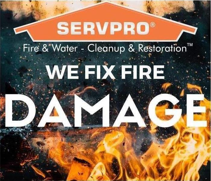picture of flames and the servpro logo